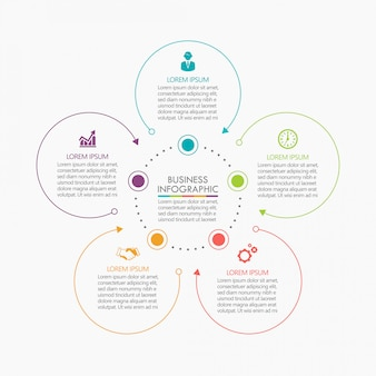 Presentation business circle infographic template with 5 options.