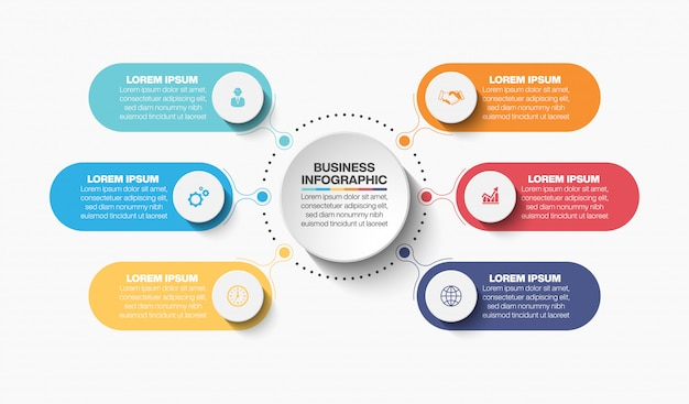 Presentation business circle infographic template with 6 options.