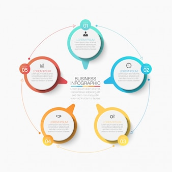 Presentation business circle infographic template with five options