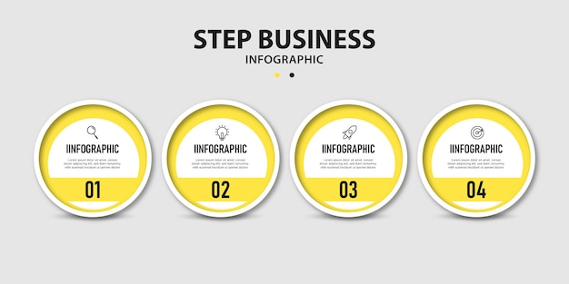 Presentation business circular time line steps info graphics template design