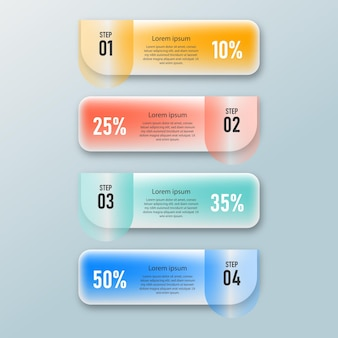 Presentation business creative infographics transparaent glass effect template with 4 option