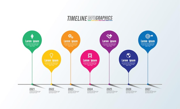 Presentation business infographic colorful template with 7 step