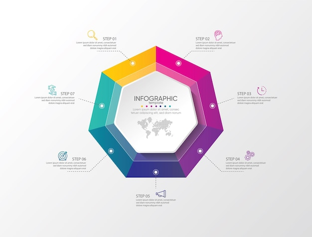 Презентация бизнес-инфографики красочный шаблон с шагами