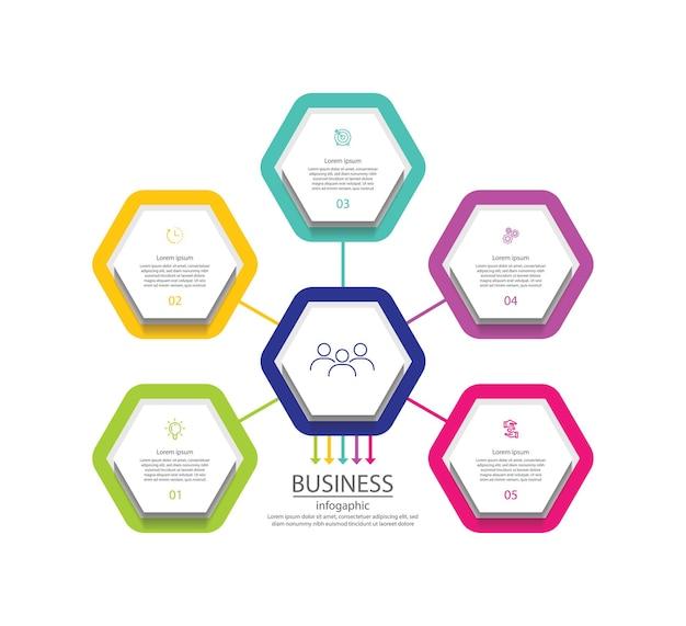 Презентация бизнес инфографики красочный шаблон