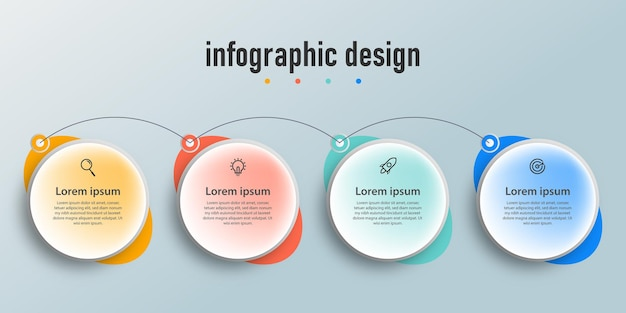 Presentation business infographic design template with 4 options or steps