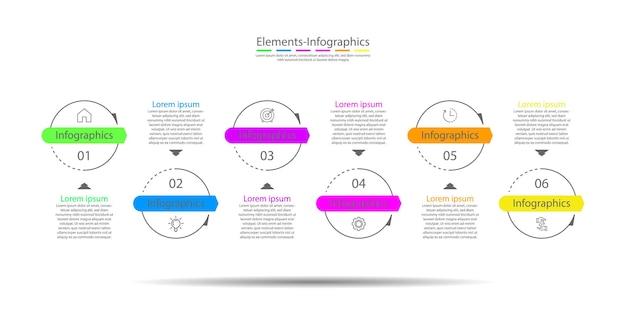 プレゼンテーションビジネスのインフォグラフィック要素は、6つのステップでカラフルに円を描く