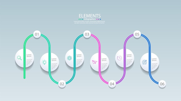 6つのステップでプレゼンテーションビジネスインフォグラフィック要素