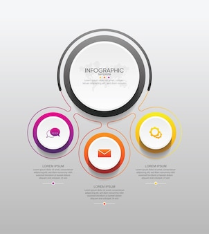 Presentation business infographic template circle with 3 step
