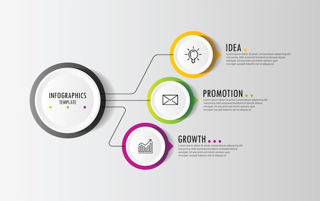 3 단계 프레젠테이션 비즈니스 infographic 템플릿 원