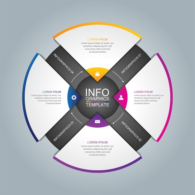 Presentation business infographic template circle with 4 step