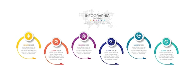 Presentation business infographic template circle with 6 step