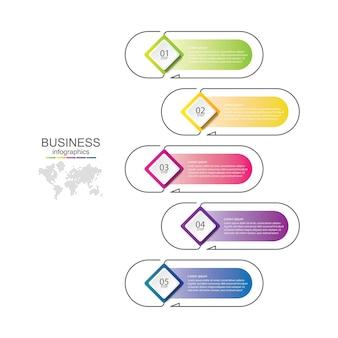 Презентация бизнес-инфографики шаблон красочная с 5 шагами