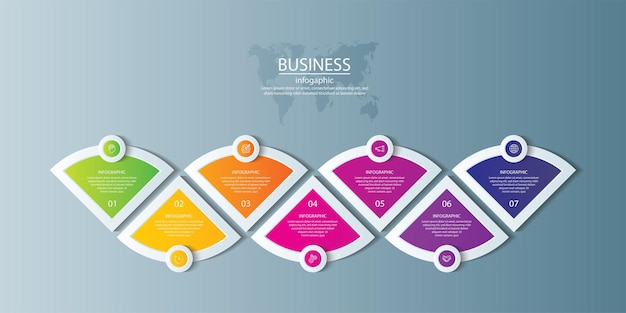Presentation business infographic template colorful with 7 step