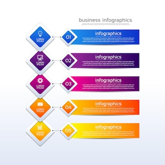 5단계로 다채로운 프레젠테이션 비즈니스 인포그래픽 템플릿