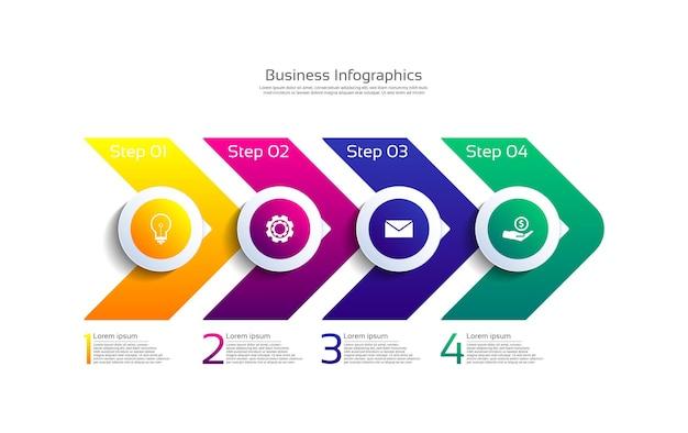 4단계로 다채로운 프레젠테이션 비즈니스 인포그래픽 템플릿