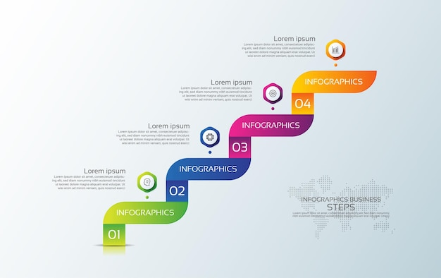 Presentation business infographic template colorful with four step