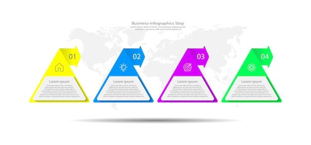 4つのステップでカラフルなプレゼンテーションビジネスインフォグラフィックテンプレート
