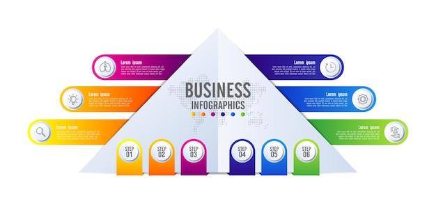 6단계로 다채로운 프레젠테이션 비즈니스 인포그래픽 템플릿