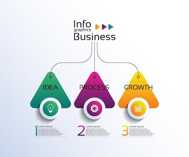 3단계로 다채로운 프레젠테이션 비즈니스 인포그래픽 템플릿