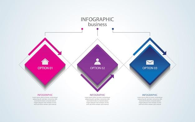 Шаблон бизнес-инфографики презентации с 3 шагами