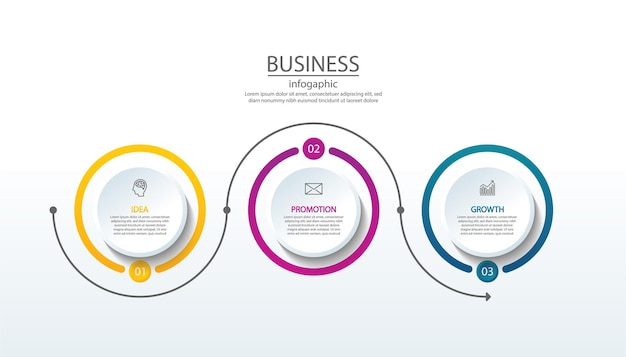 Presentation business infographic template with 3 step