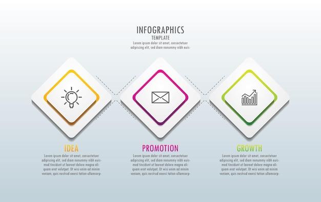 Презентационный бизнес-инфографический шаблон с 3 шагами