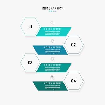 Шаблон бизнес-презентации инфографики с 4 вариантами. иллюстрация.
