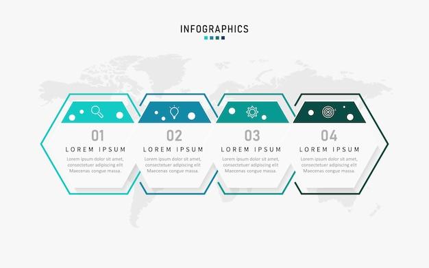 4つのオプションを持つプレゼンテーションビジネスインフォグラフィックテンプレート。図。