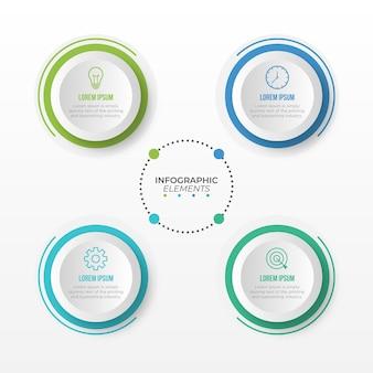 4つのオプションを持つプレゼンテーションビジネスインフォグラフィックテンプレート