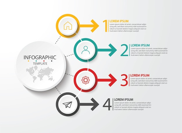 Presentation business infographic template with 4 step