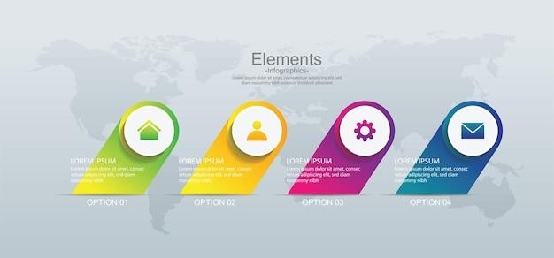 Шаблон бизнес-инфографики презентации с 4 шагами