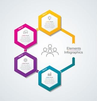 4 단계 프레젠테이션 비즈니스 인포 그래픽 템플릿