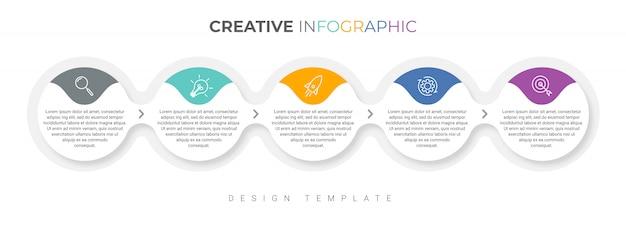 5つのオプションを持つプレゼンテーションビジネスインフォグラフィックテンプレート