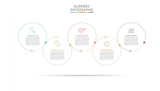 Presentation business infographic template with 5 options.