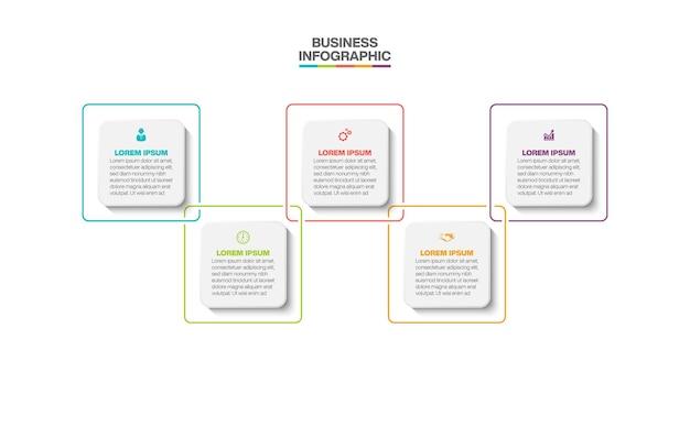 5つのオプションを備えたプレゼンテーションビジネスインフォグラフィックテンプレート。