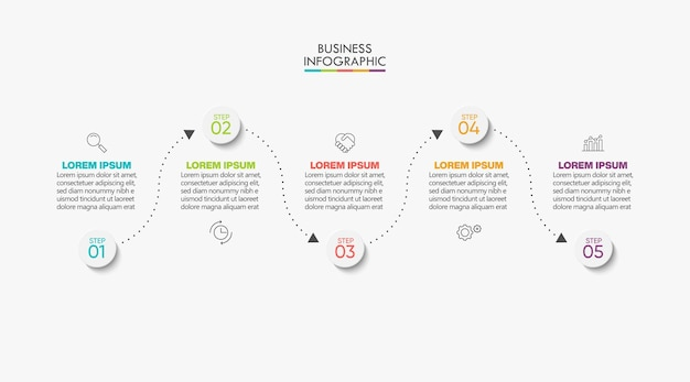 Presentation business infographic template with 5 options