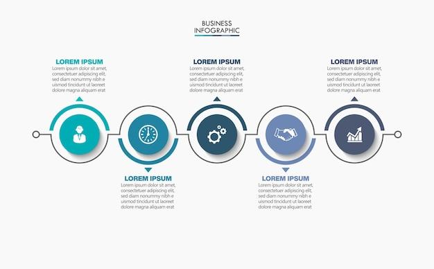Презентационный бизнес-инфографический шаблон с 5 вариантами