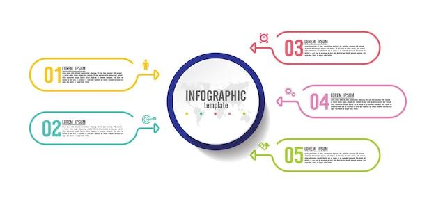 5 단계 프레젠테이션 비즈니스 인포 그래픽 템플릿