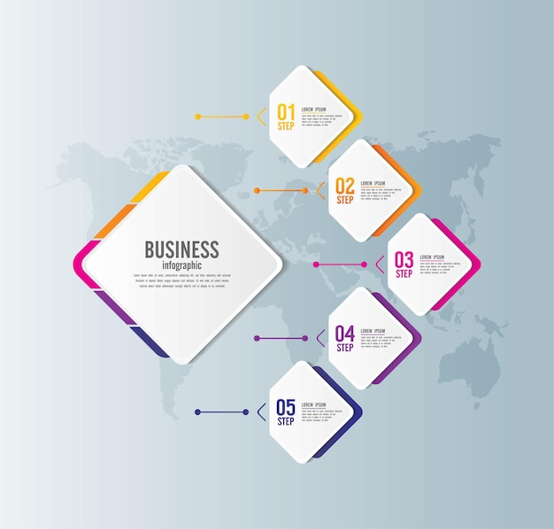 Presentation business infographic template with 5 step