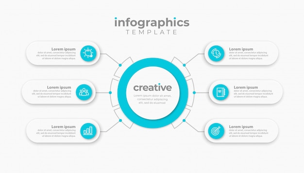 Presentation business infographic template with 6 or 7 options. illustration.