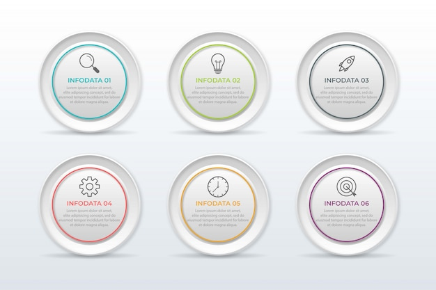 Presentation business infographic template with 6 options.  illustration.