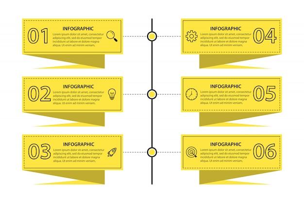 6 옵션 프레젠테이션 비즈니스 infographic 템플릿