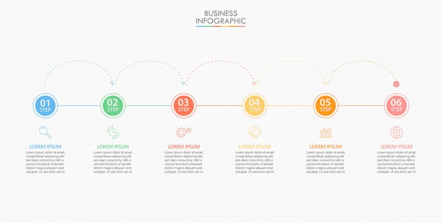 Presentation business infographic template with 6 options.