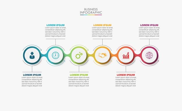 Шаблон бизнес-инфографики презентации с 6 вариантами.