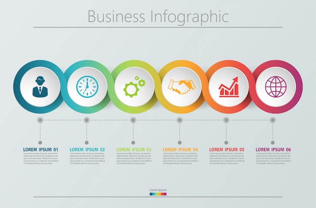 Presentation business infographic template with 6 options