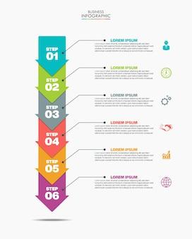 Презентационный бизнес-инфографический шаблон с 6 вариантами