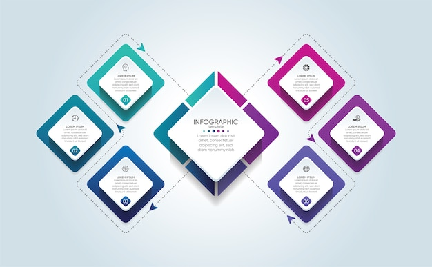 Шаблон бизнес-инфографики презентации с 6 шагами