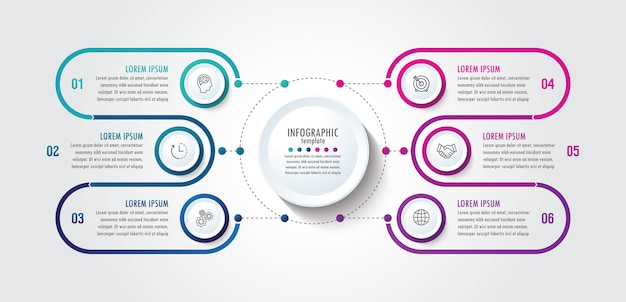 Presentation business infographic template with 6 step