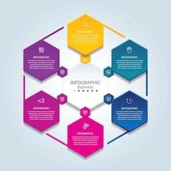 6 단계 프레젠테이션 비즈니스 인포 그래픽 템플릿