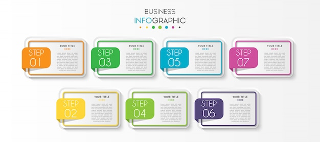 Presentation business infographic template with 7 options or steps
